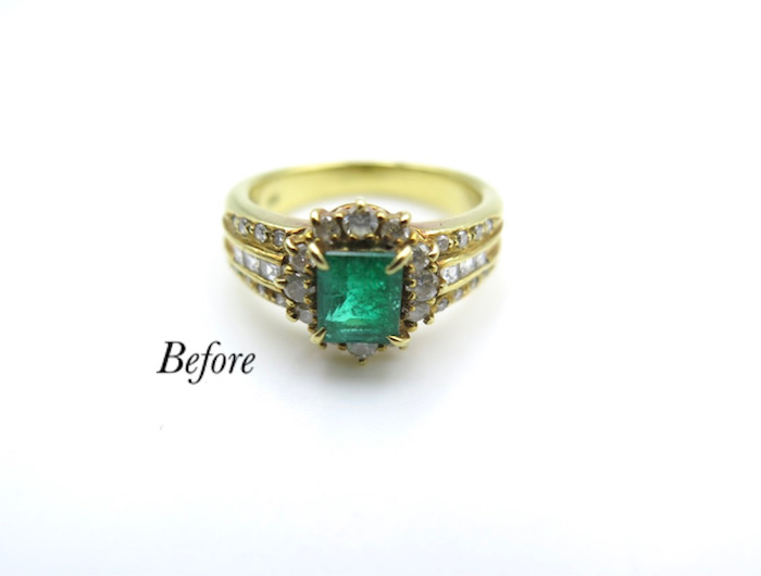デザインそのままエメラルドの指輪をペンダントに
