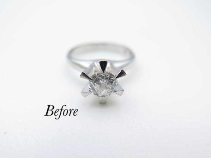 成田市からご来店のお客様て立て爪婚約指輪のリフォーム