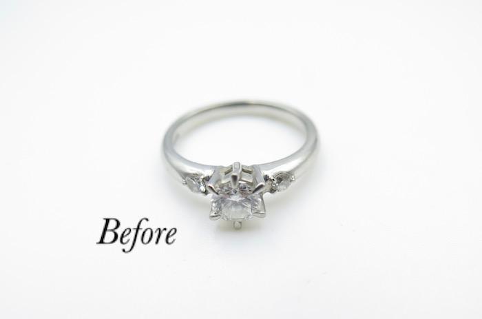 ダイヤモンドを留める爪の本数と高さを台座はそのままにリメイク