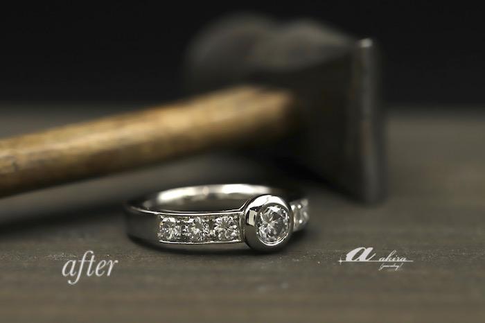 二本の指輪を使って1本の指輪にリフォーム