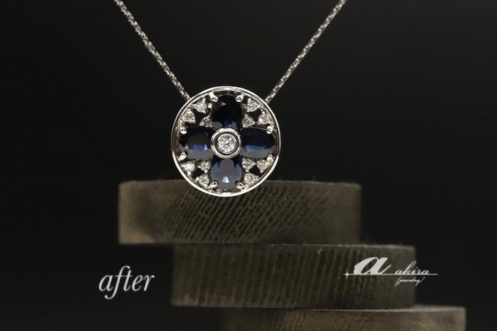 形見のサファイヤの指輪を使ってペンダントにリフォーム