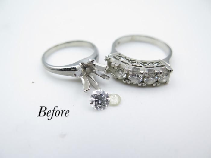美浜区からお越しのお客様、婚約指輪と一文字指輪を使いペンダントにリフォーム