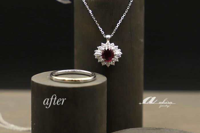 デザインそのままルビーの指輪をペンダントに致しました船橋市からご来店