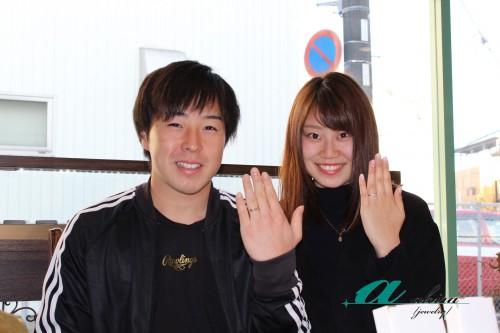 幸せなお二人の記念写真、船橋から御来店