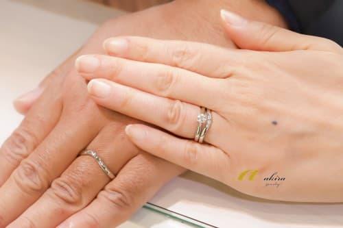 結婚指輪、婚約指輪のオーダーのお客様写真