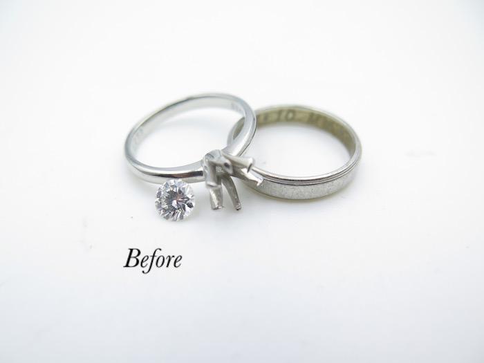 印西市からご来店のお客様、婚約指輪と結婚指輪のリフォームを致しました