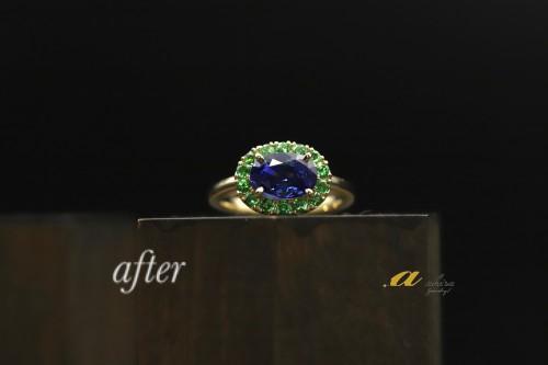 譲り受けたサファイヤの指輪を自分好みにリフォーム