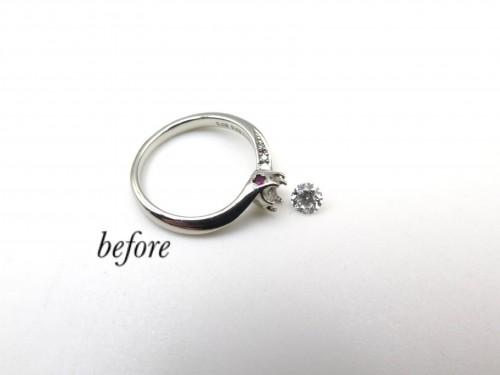 誕生石の入った婚約指輪を普段使い出来る指輪に千葉市からご来店