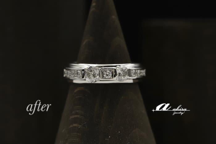 お持ちのダイヤモンドを使い切り1本の指輪にリフォームを致しました