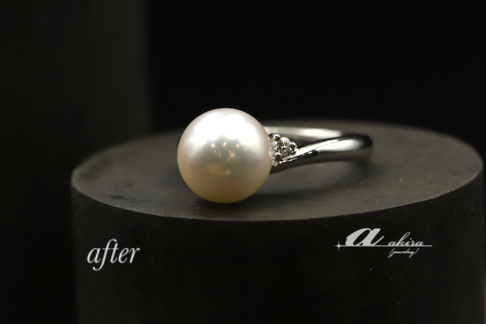 八千代市からご来店のお客様、真珠の指輪をリフォーム致しました