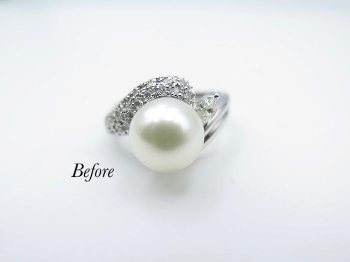 真珠の指輪をペンダントに作り変えを致しました